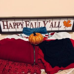 🍁🌹ROSY FALL WEATHER 6 Item BUNDLE SMALL Red/Gray